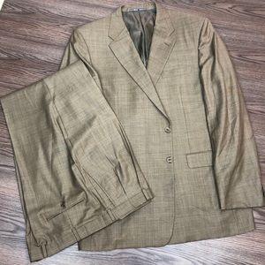 Hickey Freeman Tan w/ Orange Windowpane Suit 48L